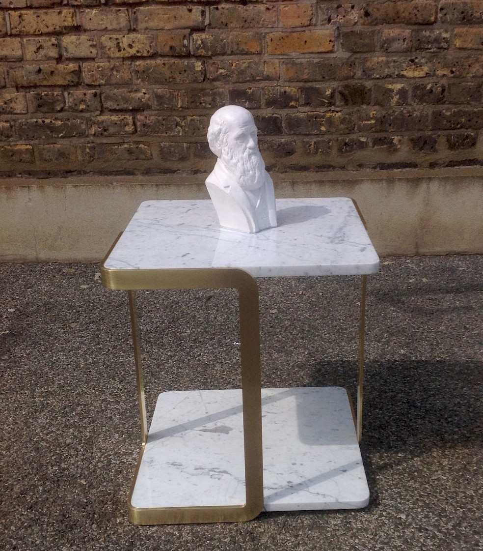 Satin brass and marble side table, designed and made by commission.