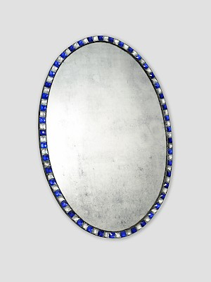 Blue & clear studded mirror H 1.2m.