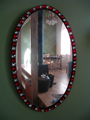Red & clear studded mirror H 80cm.