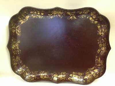 Red papier mache tray from Clay of King St, Covent garden circa 1850